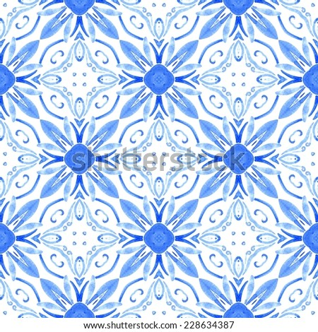 Seamless watercolor pattern in portugal (azulejos) style - stock photo