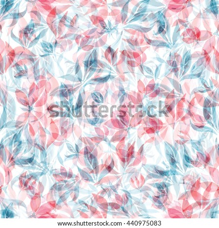 Seamless watercolor pattern of red flowers and blue leaves on a white background. - stock photo