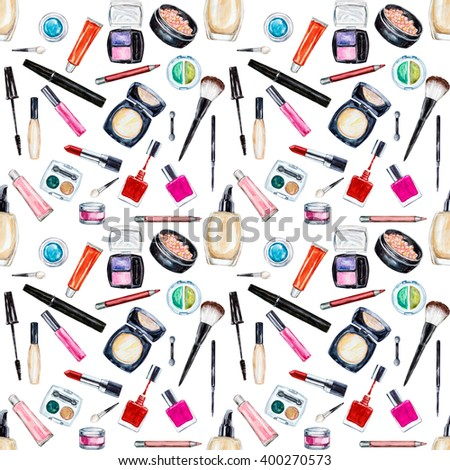 Seamless watercolor pattern with cosmetic, beauty items, mascara, lipstick, foundation cream, brushes, eye shadow, nail polish, powder, lip gloss. Hand drawn makeup cosmetics - stock photo