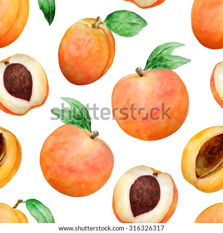 Seamless watercolor pattern with hand drawn peaches and apricot with leaves. Different type of pieces. Ideal for food packaging design - stock photo