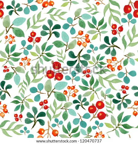 Seamless watercolor pattern with leafs and berries - stock photo