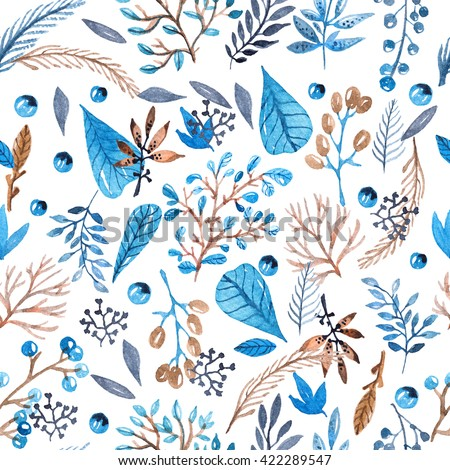 Seamless watercolor pattern with leafs and berries in blue and brown colors for beautiful design - stock photo