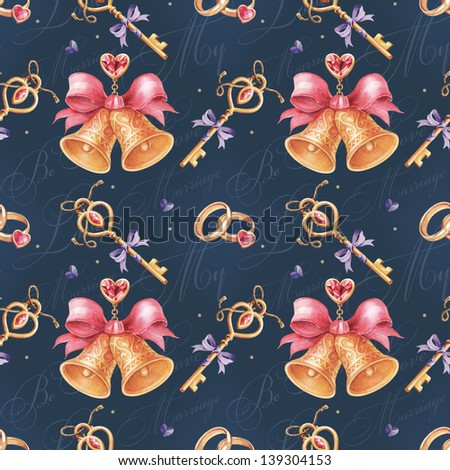 Seamless watercolor pattern with wedding bell and keys. - stock photo