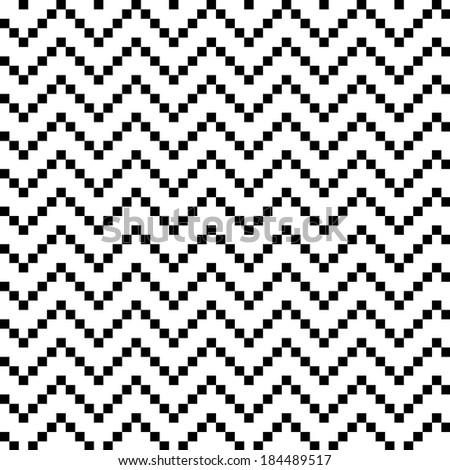 Seamless Wavy Pixel Pattern - stock photo