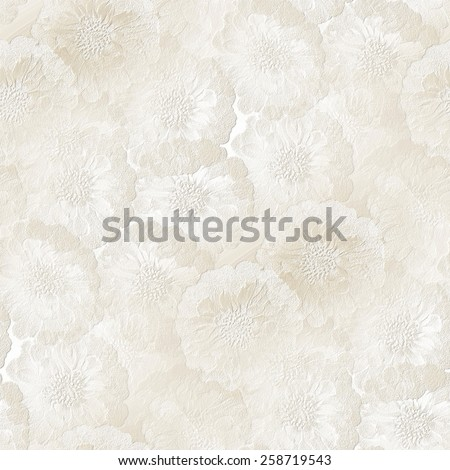 seamless wedding pattern, white gypsum board, painted with watercolors, stamped shapes of small flowers texture - stock photo