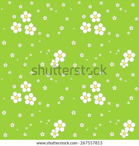Seamless white floral pattern on a green background. Illustration. - stock photo