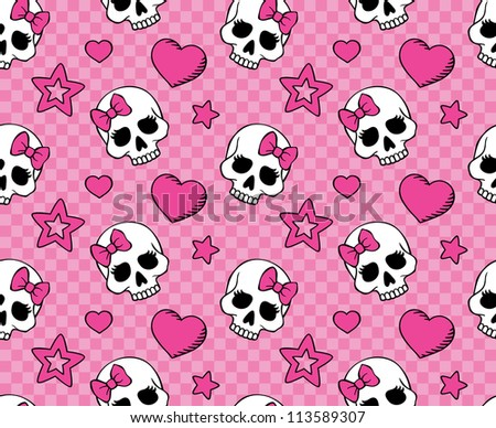 Seamless with hearts and skulls. Raster version. - stock photo