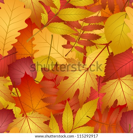 seamless with red and yellow autumn leaves. - stock photo