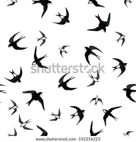 Seamless with swallows.  Raster pattern. Watercolor, handmade. Seamless paper, fabric and other printing and web projects.  - stock photo