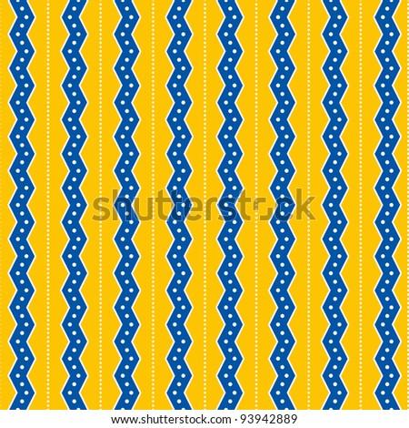 Seamless Yellow & Blue Zig Zag Stripes Background - stock photo
