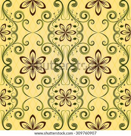 Seamless yellow floral pattern. - stock photo