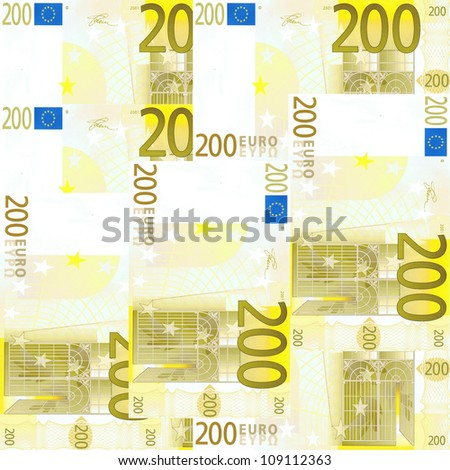 Seamlessly tileable 200 Euro's background - stock photo