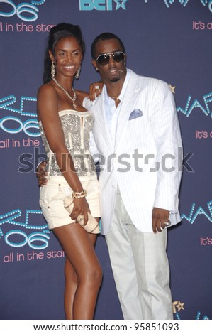 SEAN P. DIDDY COMBS & wife KIM at the 2006 BET Awards in Los Angeles.. June 27, 2006  Los Angeles, CA  2006 Paul Smith / Featureflash - stock photo