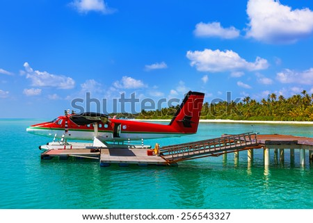 Seaplane at Maldives - nature travel background - stock photo