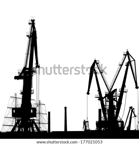 Seaport silhouette of port cranes. - stock photo