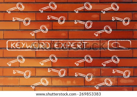 search bar with funny keys, researching about keyword experts - stock photo