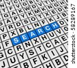 search  (blue-white cubes crossword series) - stock photo