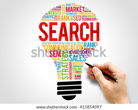 SEARCH bulb word cloud, business concept - stock photo