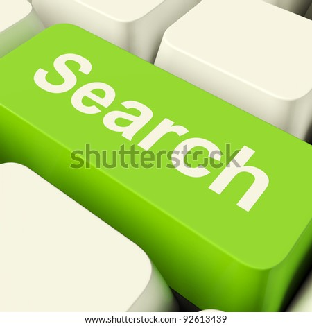 Search Computer Key Green Showing Internet Access And Online Research - stock photo
