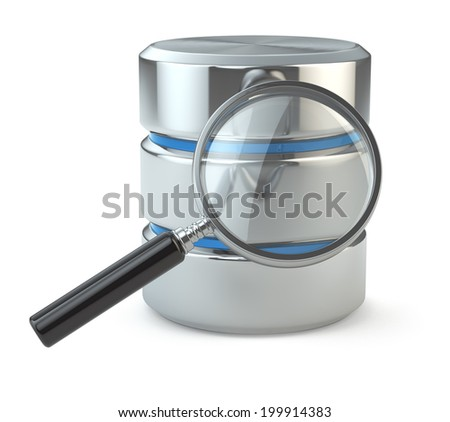 Search data. Database and loupe on white isolated background. 3d - stock photo