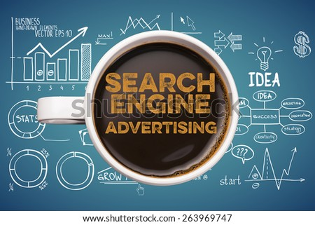 search engine advertising. coffee cup with business sketches background - stock photo