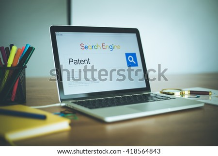 Search Engine Concept: Searching PATENT on Internet - stock photo