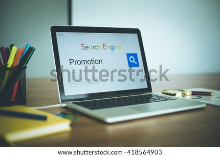 Search Engine Concept: Searching PROMOTION on Internet - stock photo