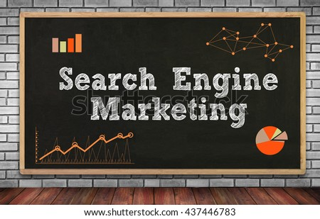 Search Engine Marketing on brick wall and chalkboard background - stock photo