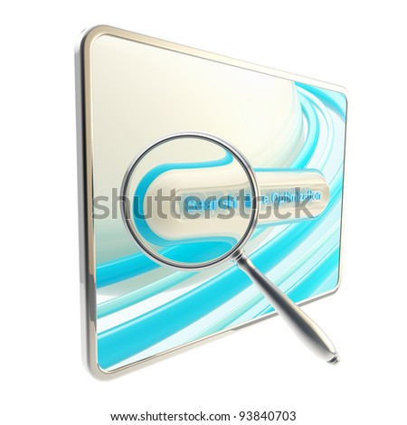 Search engine optimization glossy blue icon as a pad screen and search bar isolated - stock photo