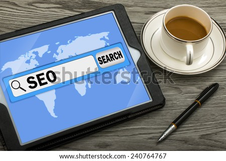search engine optimization in search bar - stock photo
