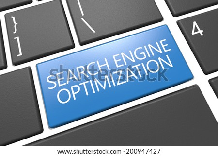 Search Engine Optimization - keyboard 3d render illustration with word on blue key - stock photo