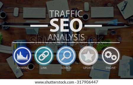 Search Engine Optimization SEO Information Internet Concept - stock photo