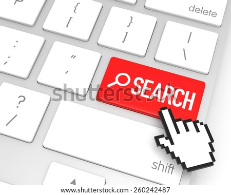 Search enter key with hand cursor. 3D rendering - stock photo