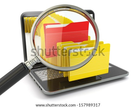 Search folder. Laptop, loupe and files. 3d - stock photo