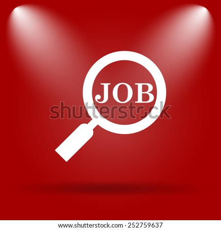Search for job icon. Flat icon on red background.  - stock photo