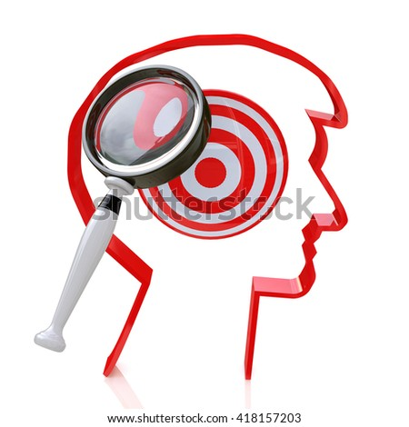 search for new targets for the design of information related to the formulation of purpose. 3d illustration - stock photo