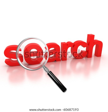search icon - search 3d letters under the magnifier - stock photo