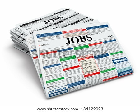 Search job. Newspapers with advertisments on white isolated background. 3d - stock photo