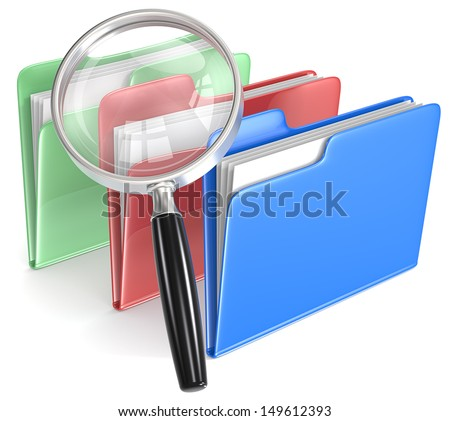 Search. Magnifying Glass over 3 folders. Blue, red, and green. - stock photo