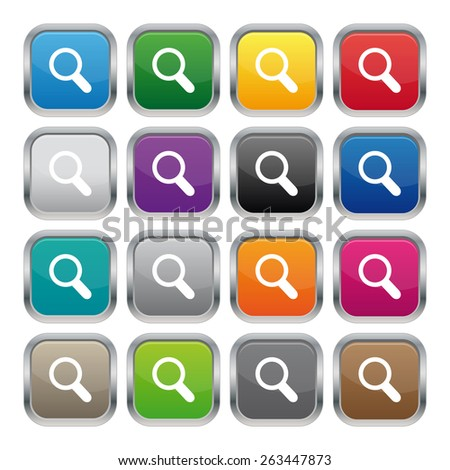 Search metallic square buttons - stock photo