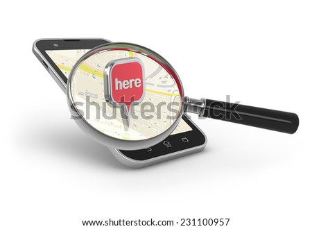 Search on the map. Magnifying glass over smartphone on white. - stock photo