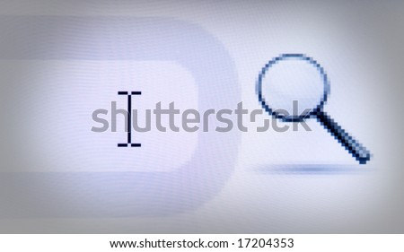 search prompt field with a magnifying glass icon - stock photo