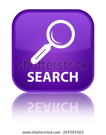 Search purple square button - stock photo