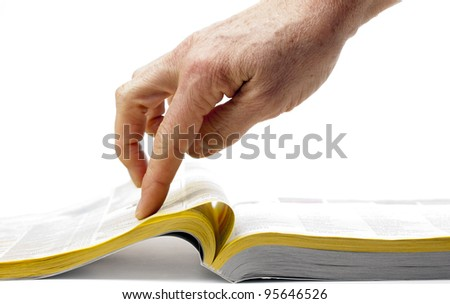 search trough the yellow paper - stock photo