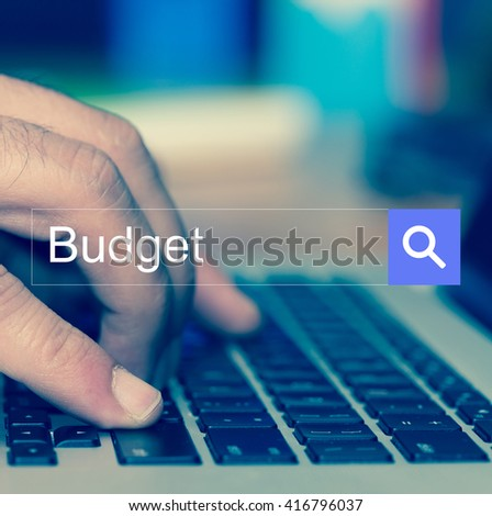 SEARCH WEBSITE INTERNET SEARCHING Budget CONCEPT - stock photo