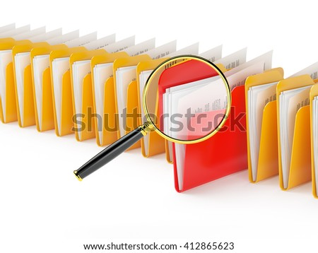 Searching a files in archive isolated on white.3d illustration. - stock photo