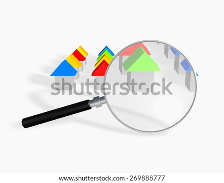 Searching a house concept illustration with 3d houses and magnifying glass. 3d render illustration isolated on white. - stock photo