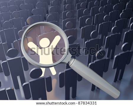 Searching concept. Outstanding  person in the crowd. Big magnifying glass over the bright figure among grey human figures - stock photo