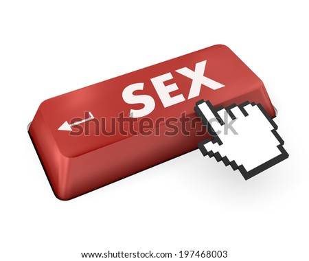 searching for sex or asking a sex question, with message on computer keyboard. - stock photo