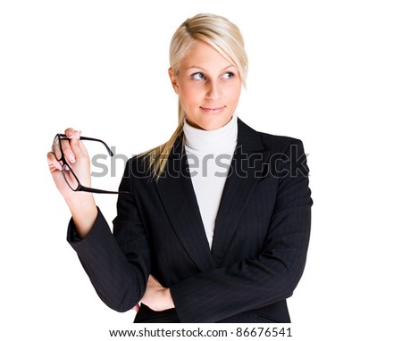 Searching for the answer, young blond business woman in thoughtful pose. - stock photo